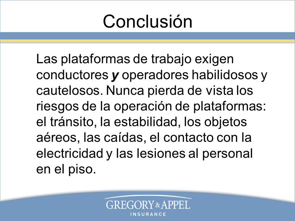 Conclusión Las plataformas de trabajo exigen conductores y operadores habilidosos y cautelosos. Nunca pierda de vista los riesgos de la operación de p