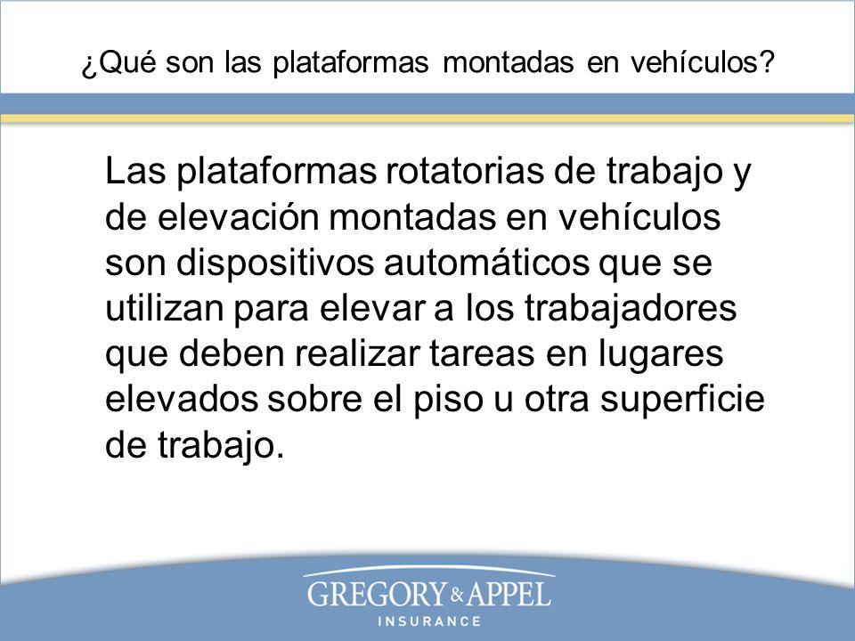 ¿Qué son las plataformas montadas en vehículos? Las plataformas rotatorias de trabajo y de elevación montadas en vehículos son dispositivos automático