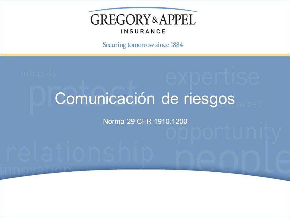 Norma 29 CFR 1910.1200 Comunicación de riesgos
