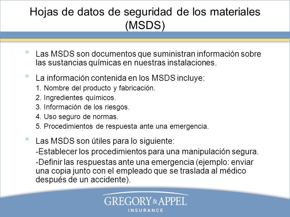Hojas de datos de seguridad de los materiales (MSDS) Las MSDS son documentos que suministran información sobre las sustancias químicas en nuestras ins