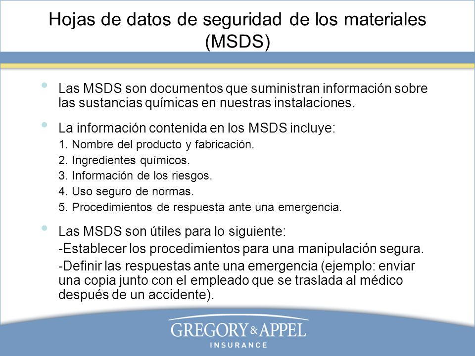 Ejemplo de MSDS
