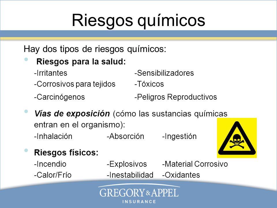 Riesgos químicos Hay dos tipos de riesgos químicos: Riesgos para la salud: -Irritantes-Sensibilizadores -Corrosivos para tejidos-Tóxicos -Carcinógenos