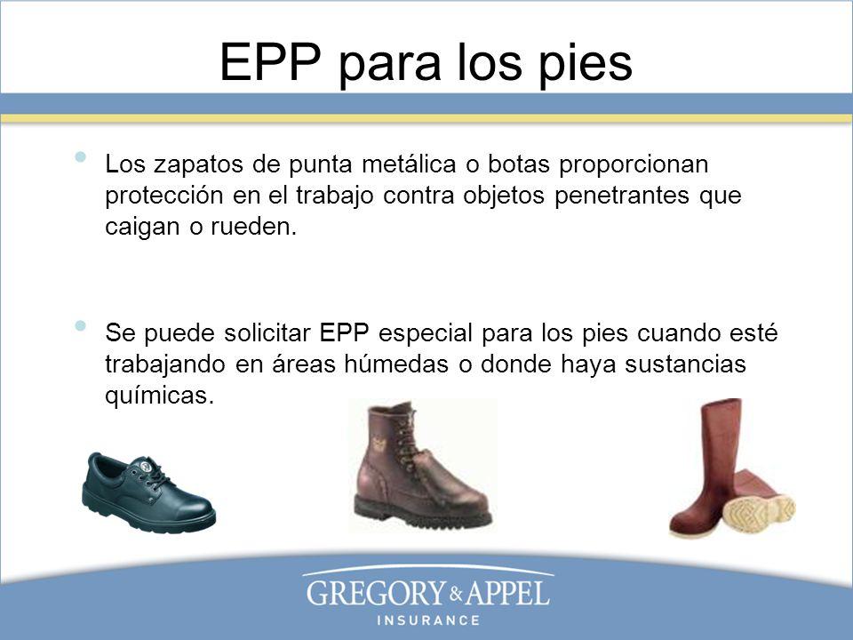 EPP para los pies Los zapatos de punta metálica o botas proporcionan protección en el trabajo contra objetos penetrantes que caigan o rueden. Se puede