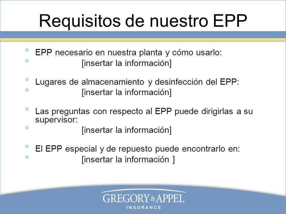 Requisitos de nuestro EPP EPP necesario en nuestra planta y cómo usarlo: [insertar la información] Lugares de almacenamiento y desinfección del EPP: [