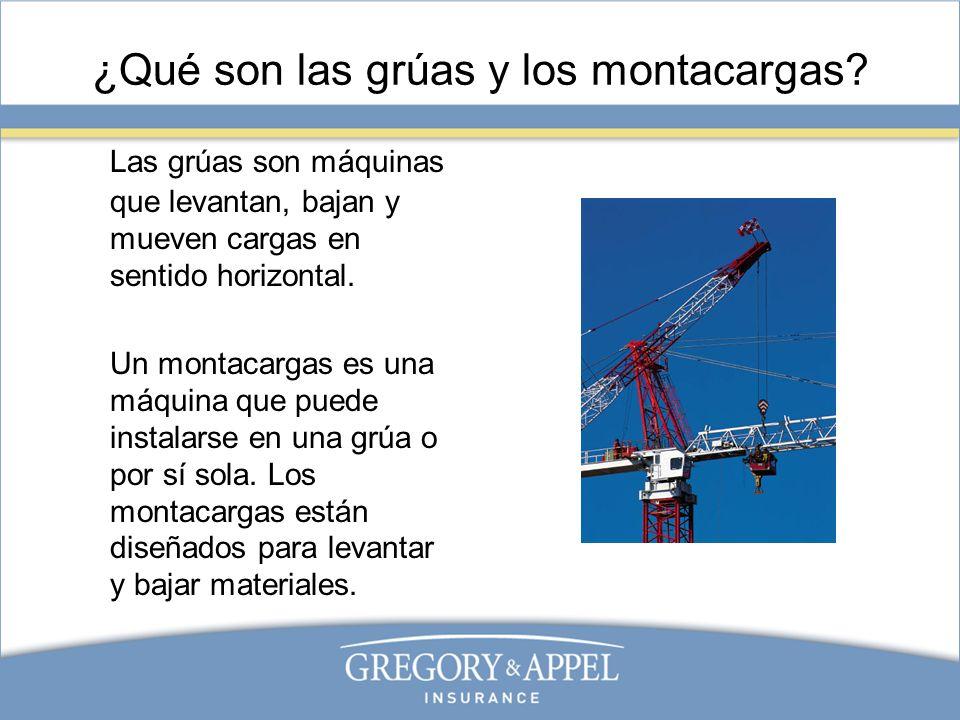 Grúas y montacargas: Antes de su uso Sólo el personal capacitado y autorizado puede operar las grúas y los montacargas.