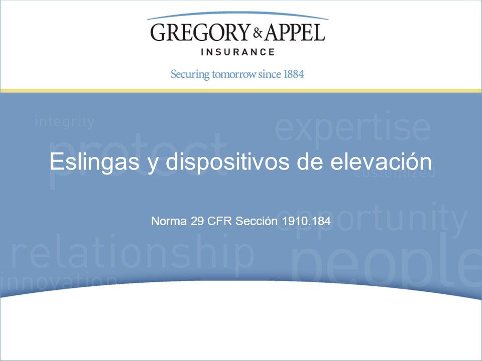 Norma 29 CFR Sección 1910.184 Eslingas y dispositivos de elevación