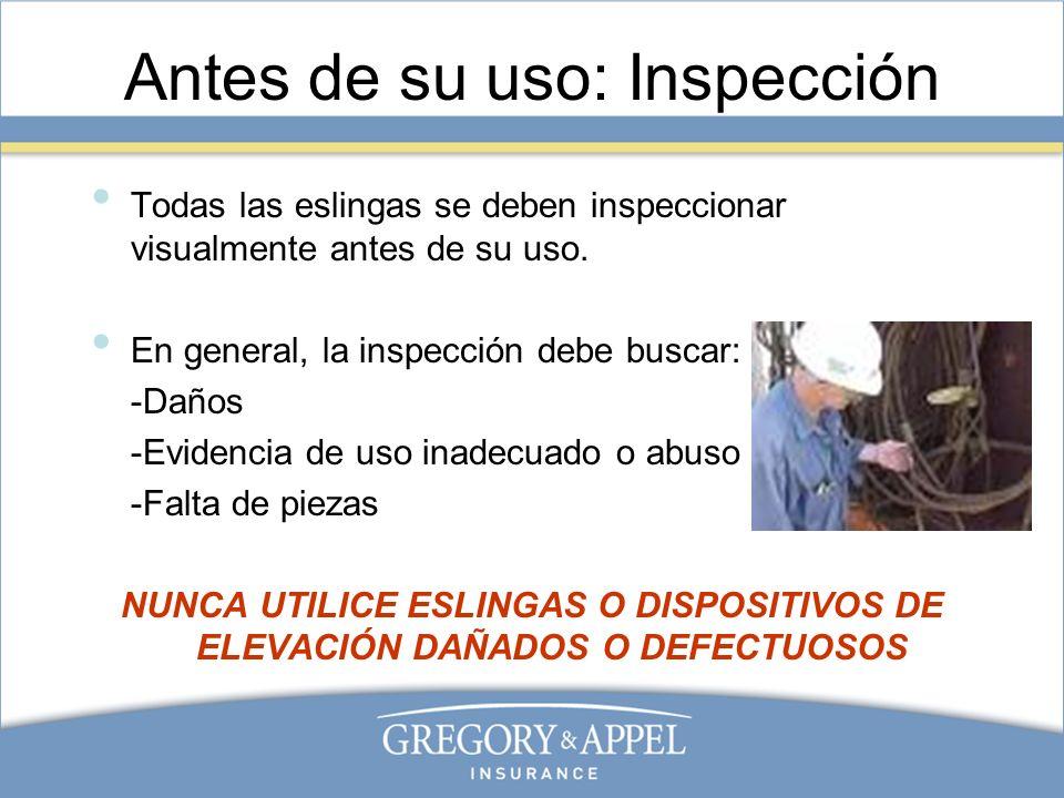 Antes de su uso: Inspección Todas las eslingas se deben inspeccionar visualmente antes de su uso. En general, la inspección debe buscar: -Daños -Evide