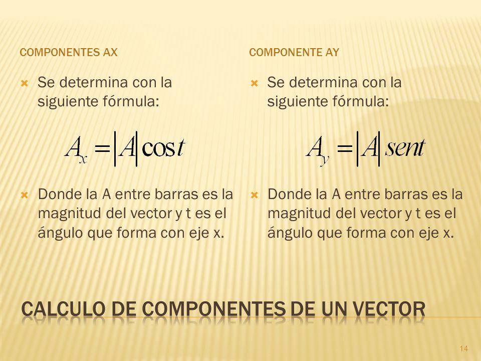 COMPONENTES AXCOMPONENTE AY Se determina con la siguiente fórmula: Donde la A entre barras es la magnitud del vector y t es el ángulo que forma con ej