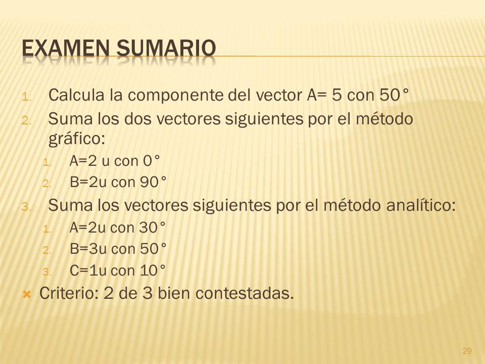1. Calcula la componente del vector A= 5 con 50° 2. Suma los dos vectores siguientes por el método gráfico: 1. A=2 u con 0° 2. B=2u con 90° 3. Suma lo