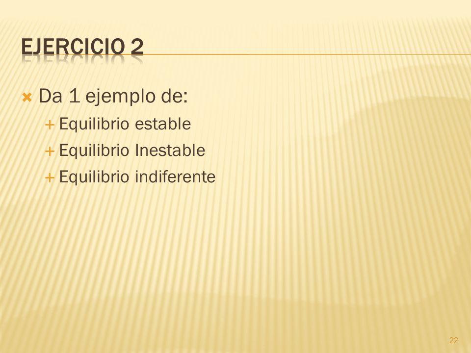 Da 1 ejemplo de: Equilibrio estable Equilibrio Inestable Equilibrio indiferente 22
