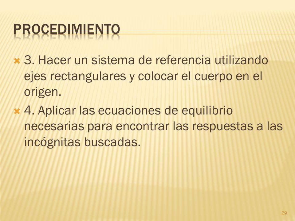 3. Hacer un sistema de referencia utilizando ejes rectangulares y colocar el cuerpo en el origen. 4. Aplicar las ecuaciones de equilibrio necesarias p
