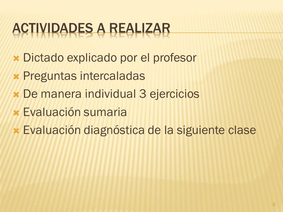 Dictado explicado por el profesor Preguntas intercaladas De manera individual 3 ejercicios Evaluación sumaria Evaluación diagnóstica de la siguiente c