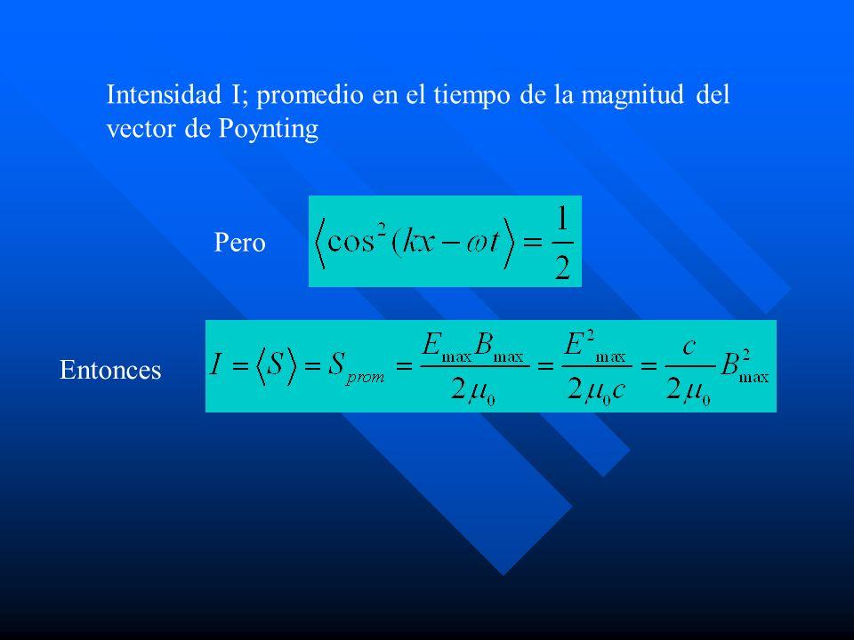 Intensidad I; promedio en el tiempo de la magnitud del vector de Poynting Pero Entonces