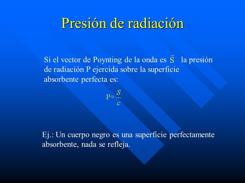 Presión de radiación Si el vector de Poynting de la onda es la presión de radiación P ejercida sobre la superficie absorbente perfecta es: Ej.: Un cue