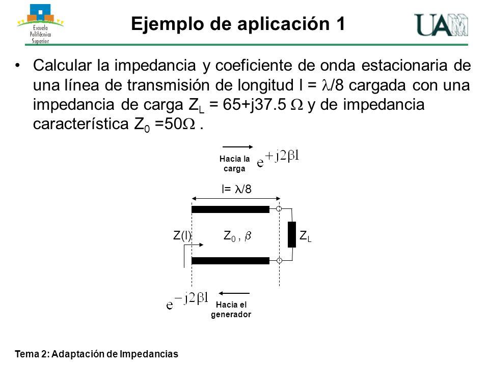 Tema 2: Adaptación de Impedancias Ejemplo de aplicación 1 Impedancia normalización 1.Calculamos la impedancia normalizada Z L ¡En la escala de grados de la carta se puede leer L =50º!