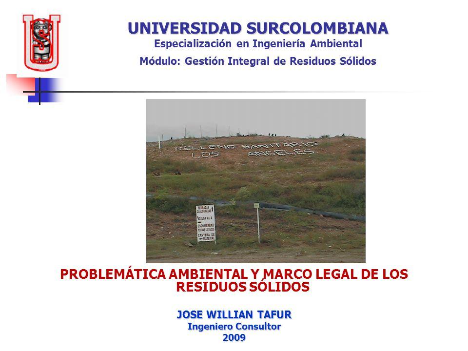 UNIVERSIDAD SURCOLOMBIANA UNIVERSIDAD SURCOLOMBIANA Especialización en Ingeniería Ambiental Módulo: Gestión Integral de Residuos Sólidos PROBLEMÁTICA