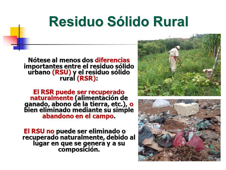 Residuo Sólido Rural Nótese al menos dos diferencias importantes entre el residuo sólido urbano (RSU) y el residuo sólido rural (RSR): El RSR puede se