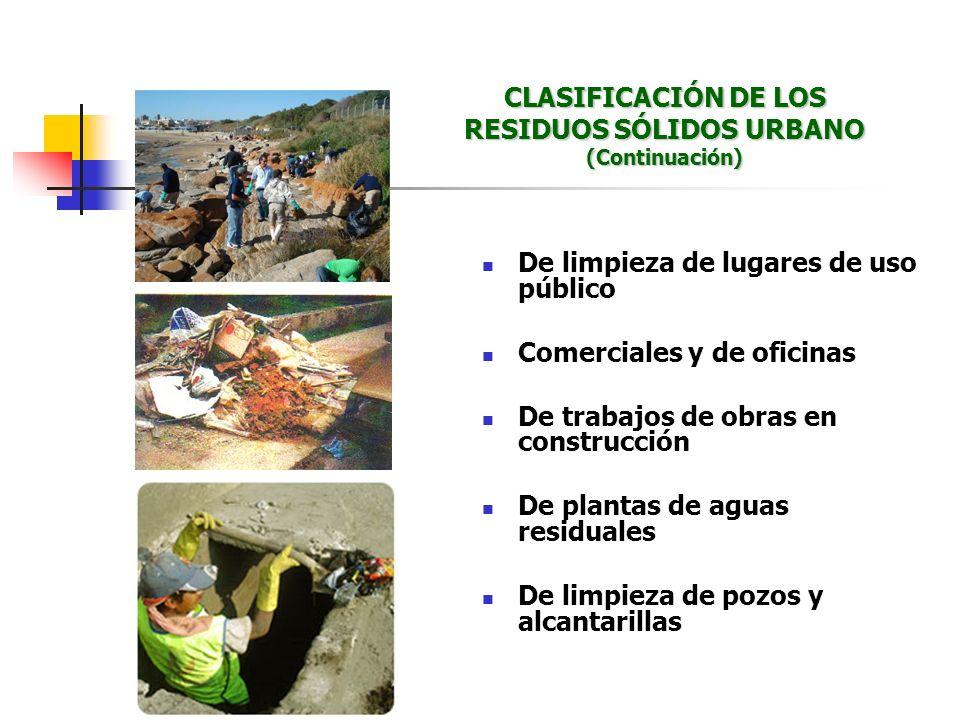 De limpieza de lugares de uso público Comerciales y de oficinas De trabajos de obras en construcción De plantas de aguas residuales De limpieza de poz