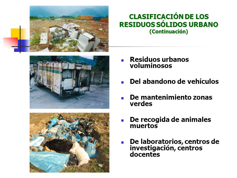 Residuos urbanos voluminosos Del abandono de vehículos De mantenimiento zonas verdes De recogida de animales muertos De laboratorios, centros de inves