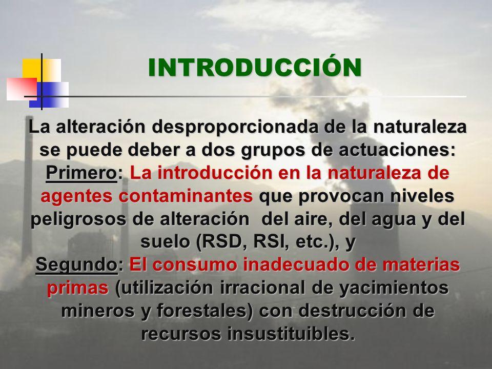 La alteración desproporcionada de la naturaleza se puede deber a dos grupos de actuaciones: Primero: La introducción en la naturaleza de agentes conta