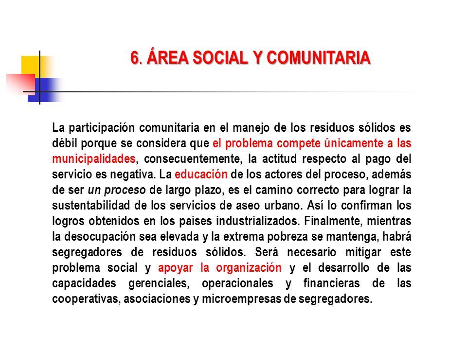 6. ÁREA SOCIAL Y COMUNITARIA La participación comunitaria en el manejo de los residuos sólidos es débil porque se considera que el problema compete ún