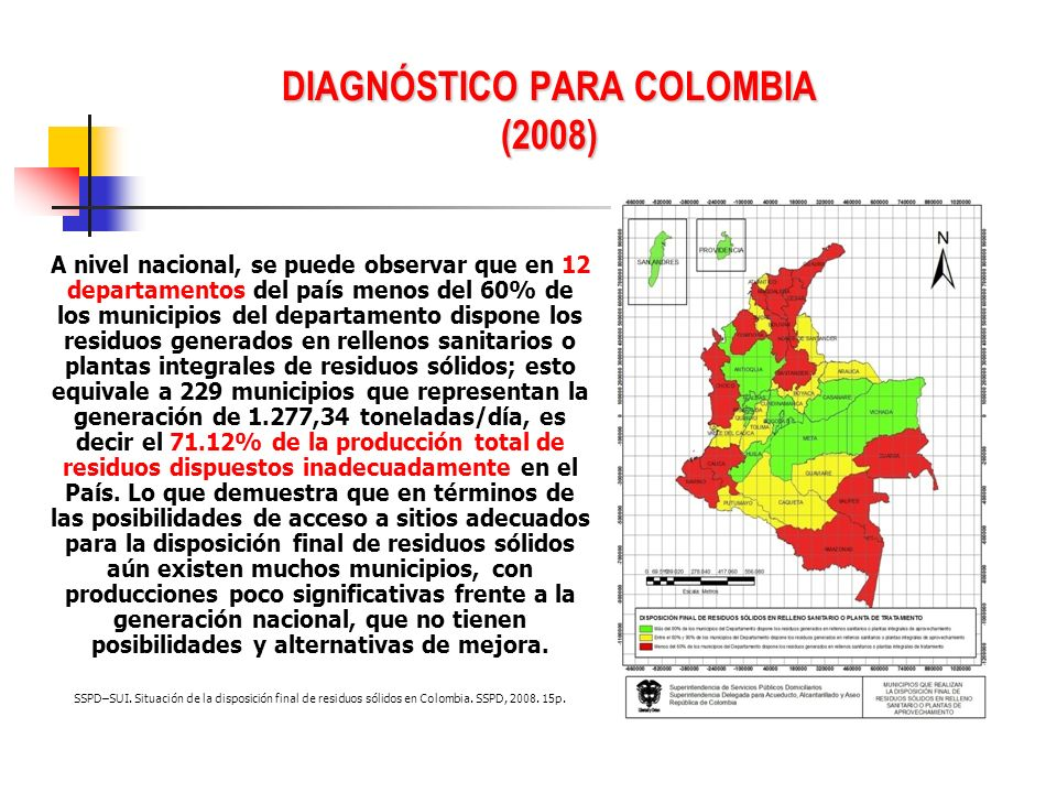 DIAGNÓSTICO PARA COLOMBIA (2008) A nivel nacional, se puede observar que en 12 departamentos del país menos del 60% de los municipios del departamento