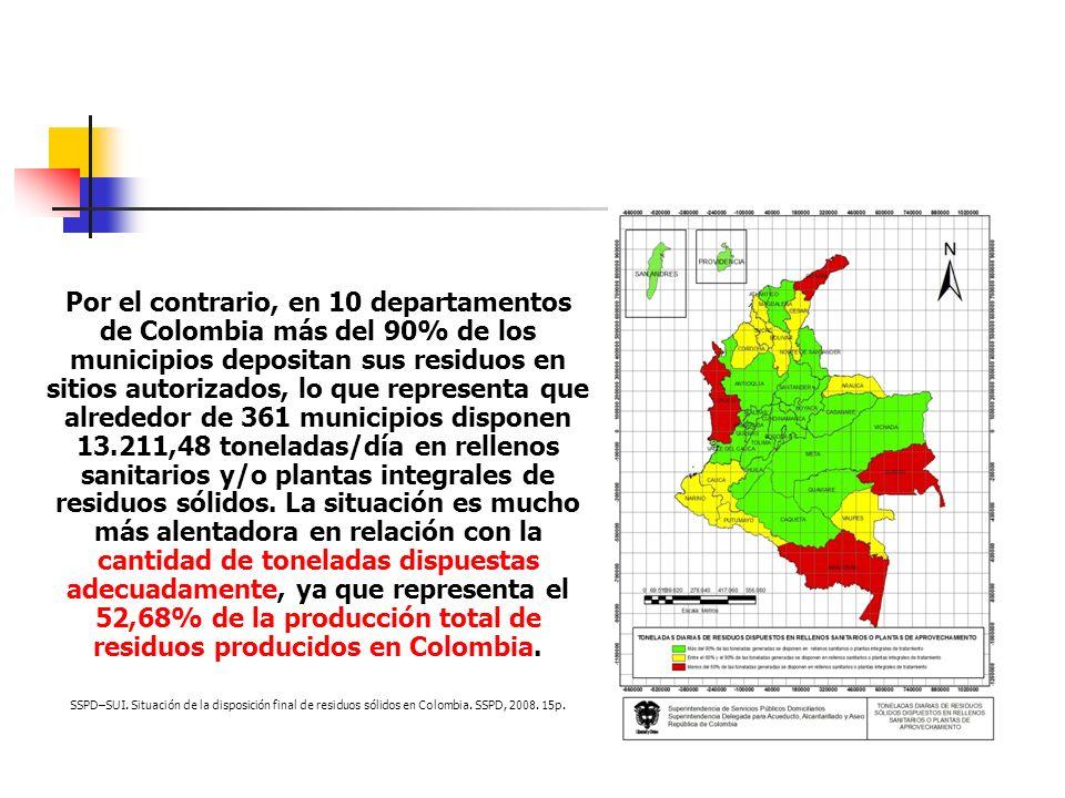 Por el contrario, en 10 departamentos de Colombia más del 90% de los municipios depositan sus residuos en sitios autorizados, lo que representa que al