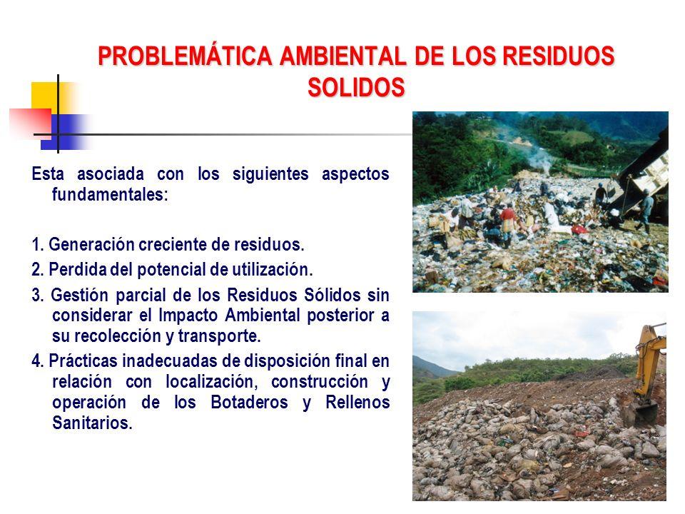 PROBLEMÁTICA AMBIENTAL DE LOS RESIDUOS SOLIDOS Esta asociada con los siguientes aspectos fundamentales: 1. Generación creciente de residuos. 2. Perdid