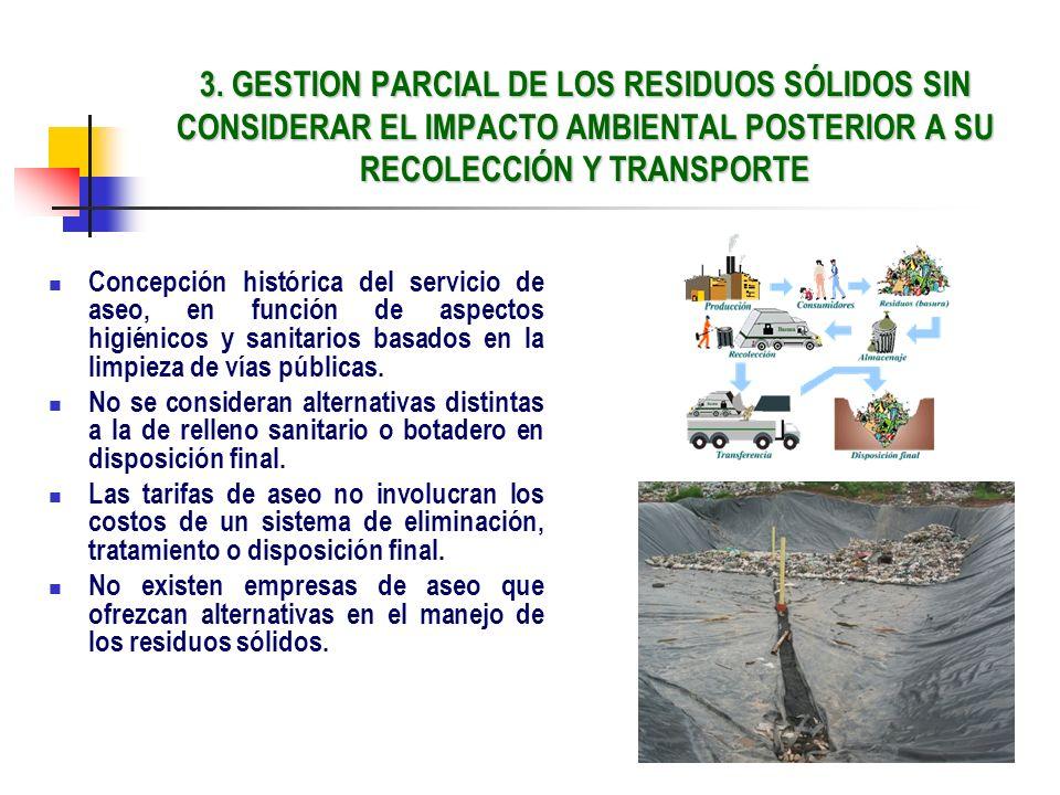 3. GESTION PARCIAL DE LOS RESIDUOS SÓLIDOS SIN CONSIDERAR EL IMPACTO AMBIENTAL POSTERIOR A SU RECOLECCIÓN Y TRANSPORTE Concepción histórica del servic