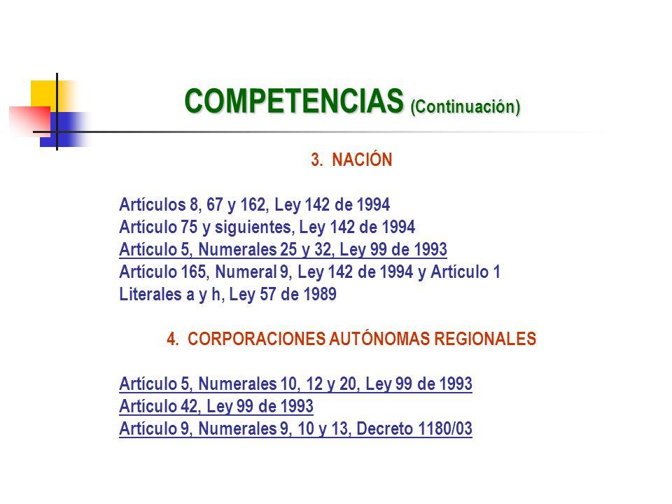 COMPETENCIAS (Continuación) 3. NACIÓN Artículos 8, 67 y 162, Ley 142 de 1994 Artículo 75 y siguientes, Ley 142 de 1994 Artículo 5, Numerales 25 y 32,