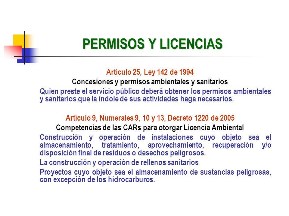 PERMISOS Y LICENCIAS Artículo 25, Ley 142 de 1994 Concesiones y permisos ambientales y sanitarios Quien preste el servicio público deberá obtener los