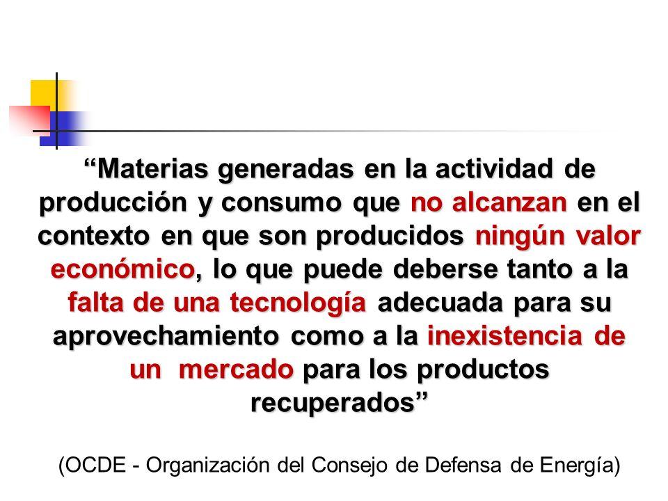 Materias generadas en la actividad de producción y consumo que no alcanzan en el contexto en que son producidos ningún valor económico, lo que puede d