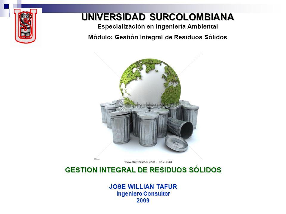 UNIVERSIDAD SURCOLOMBIANA UNIVERSIDAD SURCOLOMBIANA Especialización en Ingeniería Ambiental Módulo: Gestión Integral de Residuos Sólidos GESTION INTEG
