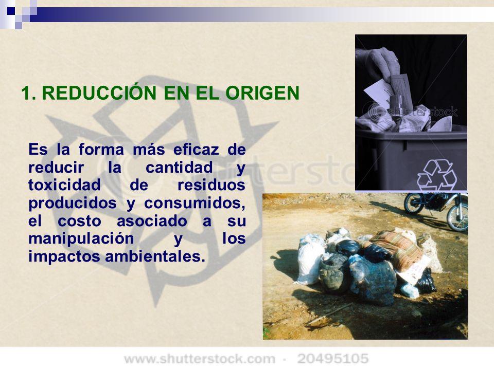 1. REDUCCIÓN EN EL ORIGEN Es la forma más eficaz de reducir la cantidad y toxicidad de residuos producidos y consumidos, el costo asociado a su manipu