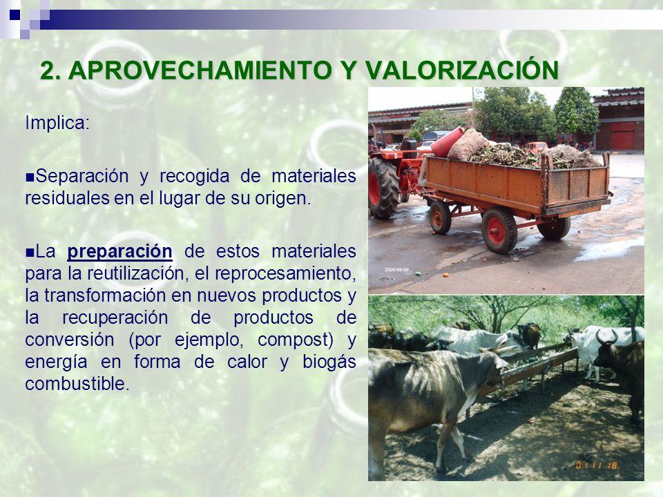 2. APROVECHAMIENTO Y VALORIZACIÓN Implica: Separación y recogida de materiales residuales en el lugar de su origen. La preparación de estos materiales