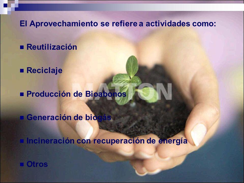 El Aprovechamiento se refiere a actividades como: Reutilización Reciclaje Producción de Bioabonos Generación de biogás Incineración con recuperación d