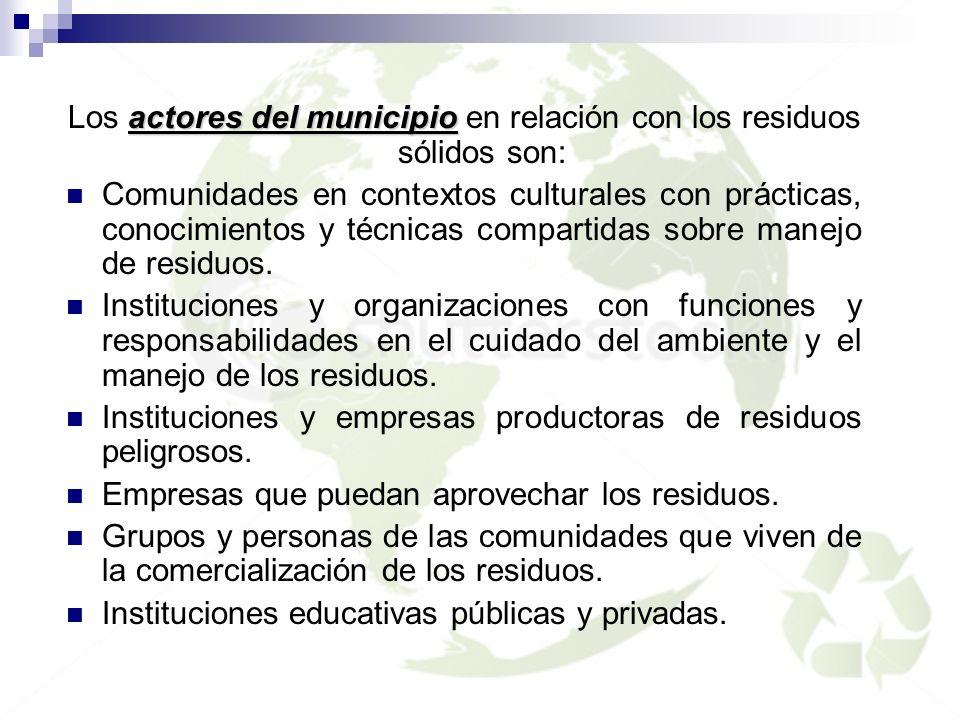 actores del municipio Los actores del municipio en relación con los residuos sólidos son: Comunidades en contextos culturales con prácticas, conocimie