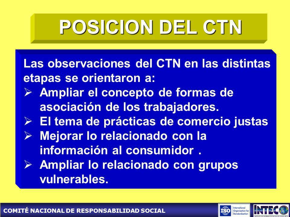 COMITÉ NACIONAL DE RESPONSABILIDAD SOCIAL POSICION DEL CTN Las observaciones del CTN en las distintas etapas se orientaron a: Ampliar el concepto de formas de asociación de los trabajadores.