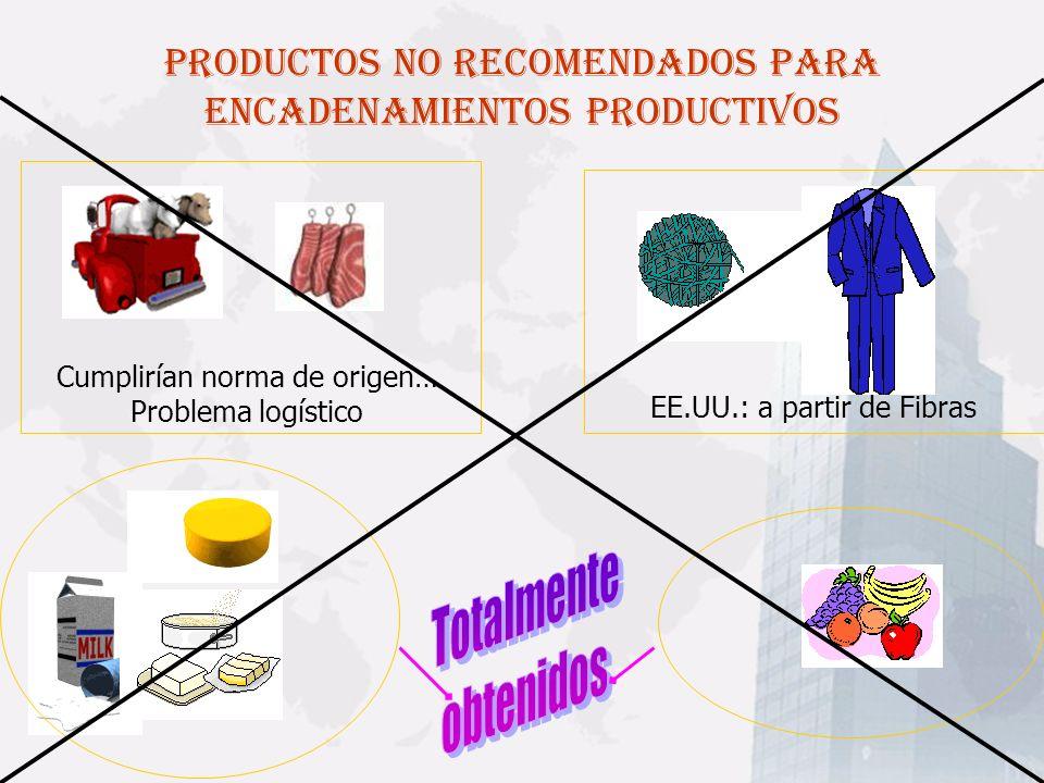 PRODUCTOS NO RECOMENDADOS PARA ENCADENAMIENTOS PRODUCTIVOS Cumplirían norma de origen… Problema logístico EE.UU.: a partir de Fibras