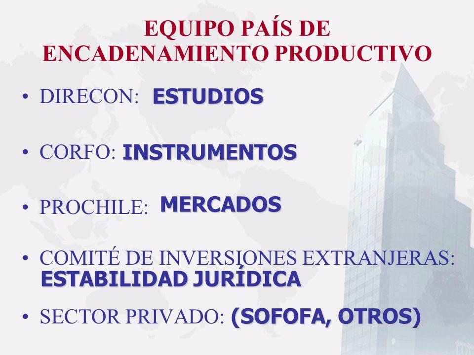 EQUIPO PAÍS DE ENCADENAMIENTO PRODUCTIVO DIRECON: CORFO: PROCHILE: COMITÉ DE INVERSIONES EXTRANJERAS: SECTOR PRIVADO: ESTUDIOS INSTRUMENTOS MERCADOS E