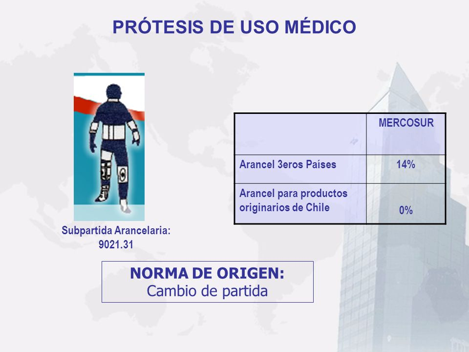 PRÓTESIS DE USO MÉDICO Subpartida Arancelaria: 9021.31 MERCOSUR Arancel 3eros Países14% Arancel para productos originarios de Chile 0% NORMA DE ORIGEN