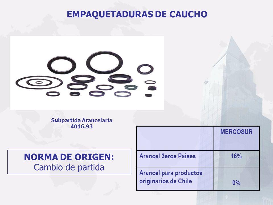 Subpartida Arancelaria 4016.93 EMPAQUETADURAS DE CAUCHO MERCOSUR Arancel 3eros Países16% Arancel para productos originarios de Chile 0% NORMA DE ORIGE