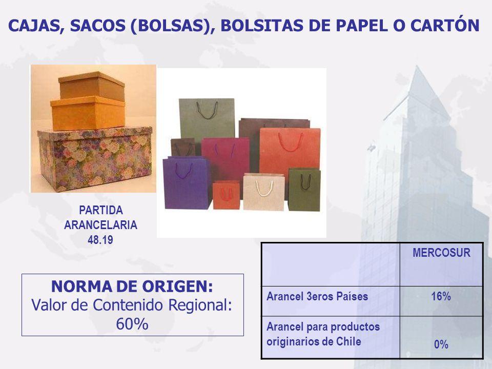 PARTIDA ARANCELARIA 48.19 CAJAS, SACOS (BOLSAS), BOLSITAS DE PAPEL O CARTÓN MERCOSUR Arancel 3eros Países16% Arancel para productos originarios de Chi