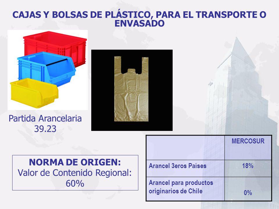 CAJAS Y BOLSAS DE PLÁSTICO, PARA EL TRANSPORTE O ENVASADO MERCOSUR Arancel 3eros Países18% Arancel para productos originarios de Chile 0% Partida Aran