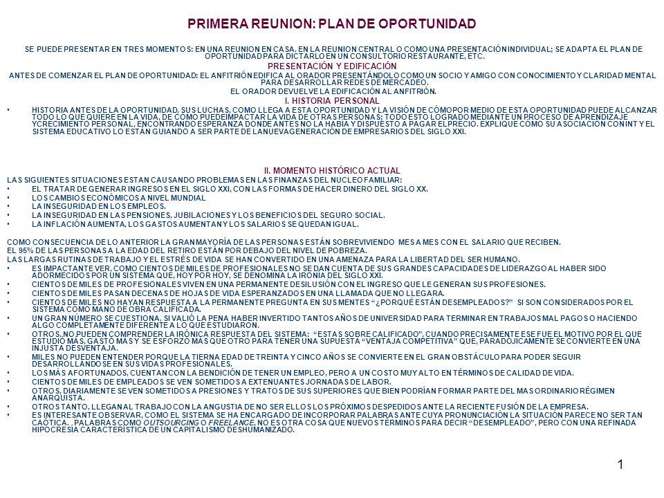 1 PRIMERA REUNION: PLAN DE OPORTUNIDAD SE PUEDE PRESENTAR EN TRES MOMENTOS: EN UNA REUNION EN CASA.