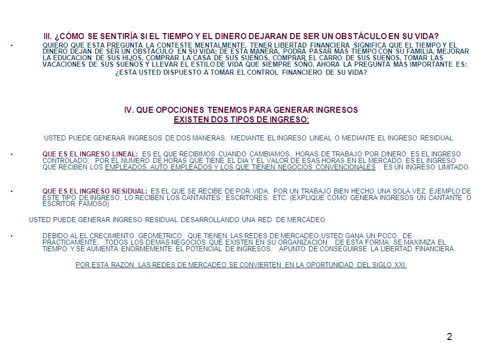 3 V.LA OPORTUNIDAD DEL SIGLO XXI ¿ QUE SON LAS REDES DE MERCADEO.