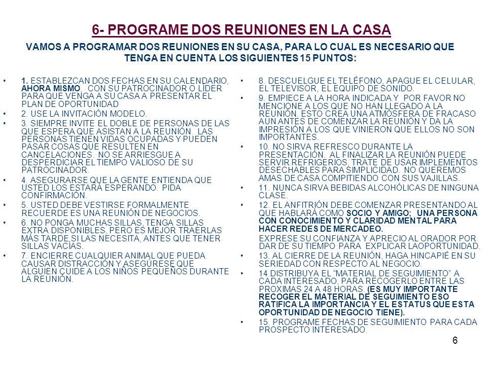 6 6- PROGRAME DOS REUNIONES EN LA CASA VAMOS A PROGRAMAR DOS REUNIONES EN SU CASA, PARA LO CUAL ES NECESARIO QUE TENGA EN CUENTA LOS SIGUIENTES 15 PUN