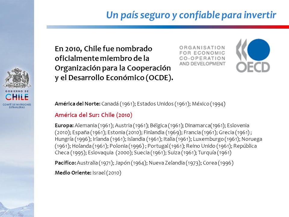 Un país seguro y confiable para invertir En 2010, Chile fue nombrado oficialmente miembro de la Organización para la Cooperación y el Desarrollo Econó