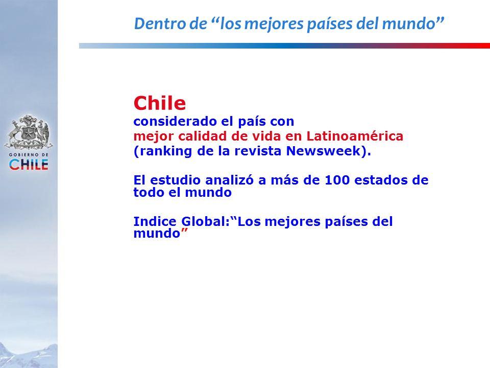 Chile considerado el país con mejor calidad de vida en Latinoamérica (ranking de la revista Newsweek). El estudio analizó a más de 100 estados de todo