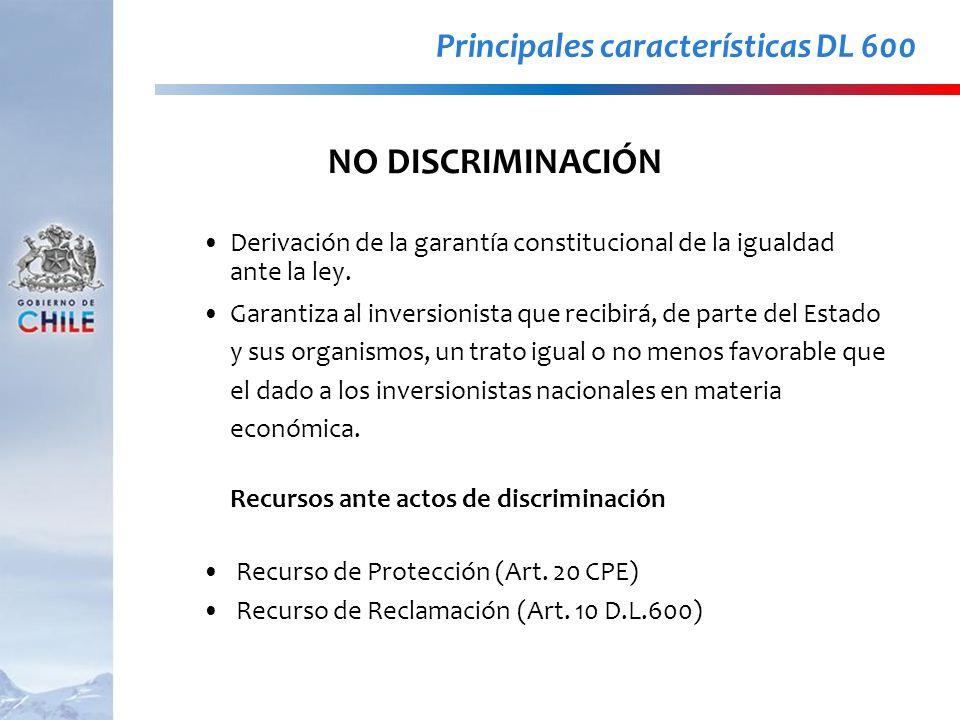 Derivación de la garantía constitucional de la igualdad ante la ley. Garantiza al inversionista que recibirá, de parte del Estado y sus organismos, un